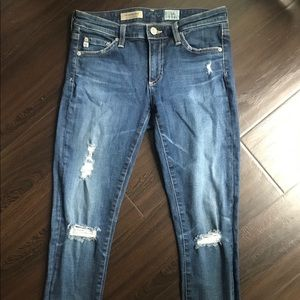 AG Jeans barely worn 26R jeans w/ multiple holes